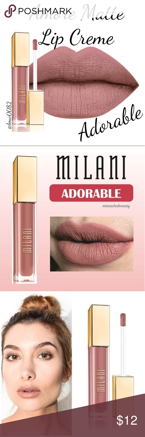 Milani Amore Matte Lip Creme Adorable AMORE MATTE LIP CRÈME  It's time to put your lipsticks on notice. The Amore Matte Lip Crème has arrived. This revolutionary, highly saturated liquid-to-matte formula dries to a soft, velvety finish for fuller-looking lips. Its double-sided, flexible plush applicator hugs the contours of lips, working to lock in bold, opaque color. Non-sticky, smooth and ready for all-night wear (up to 16 hours!) our Amore Matte Lip Crème is the ultimate transfer resistant ki