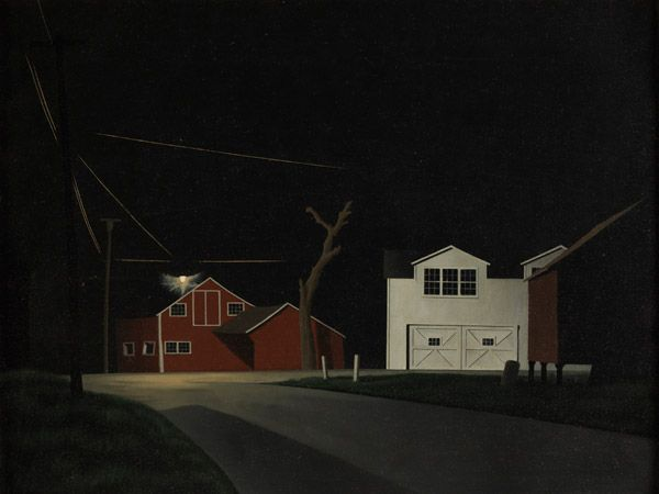 George Ault, 'Black Night at Russell's Corners', 1943, Oil on canvas, The Pennsylvania Academy of the Fine Arts, Philadelphia
