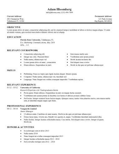 Internship Resume Sample 8 College internship resume examples