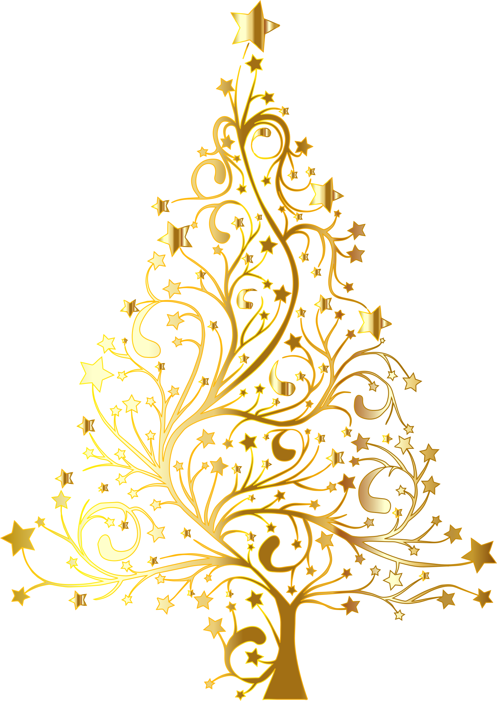 Starry Christmas Tree Gold No Background by GDJ