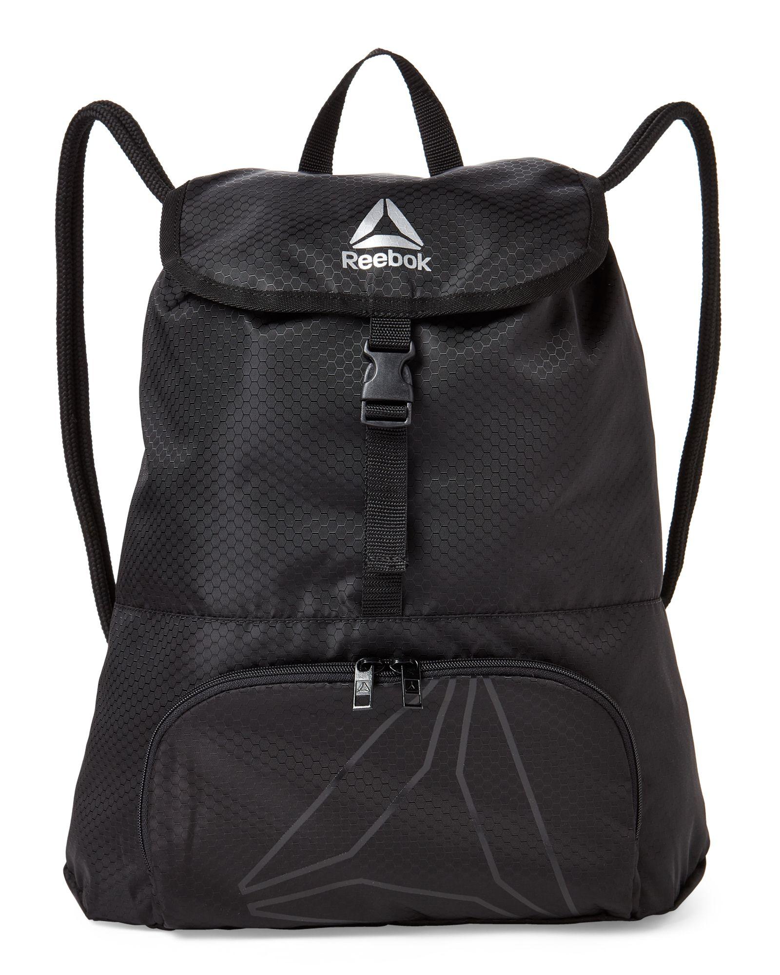 5fd6caf1a6 Reebok Black Mica Drawstring Backpack Drawstring Backpack