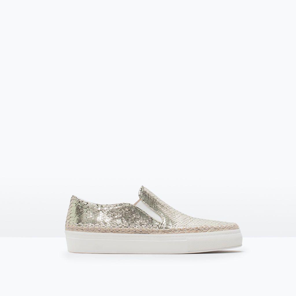 Image 1 of EMBOSSED EMBOSSED of LEATHER PLIMSOLL from Zara   Pump Sneakers ... 700d87