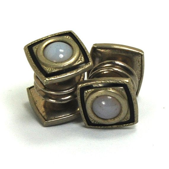 Antique Art Deco Snap Cufflinks SIGNED Baer and Wilde Silver Toned Double Sided Faux Moonstone Black Celluloid circa 1920s