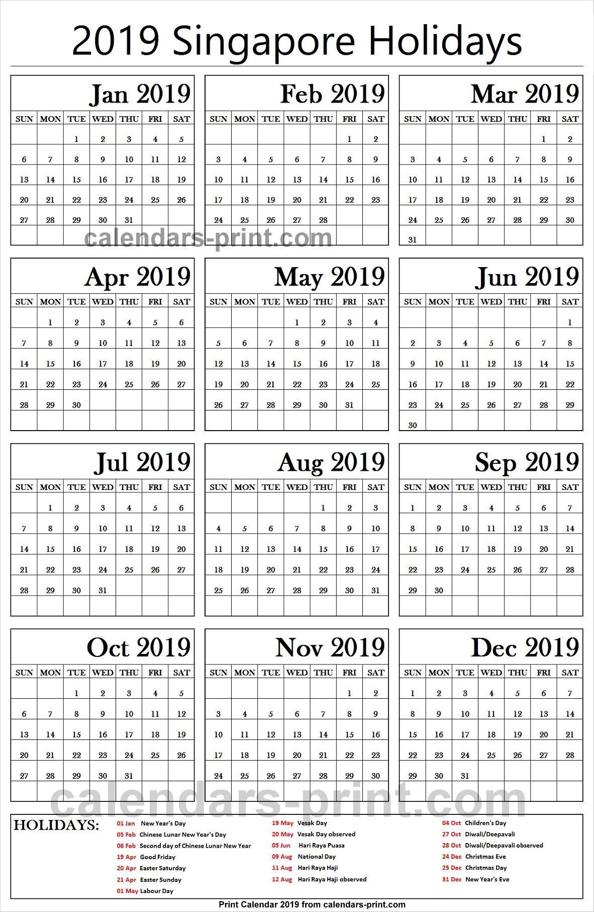 2019 Bank Holidays Singapore Holiday Calendar Canada Holiday