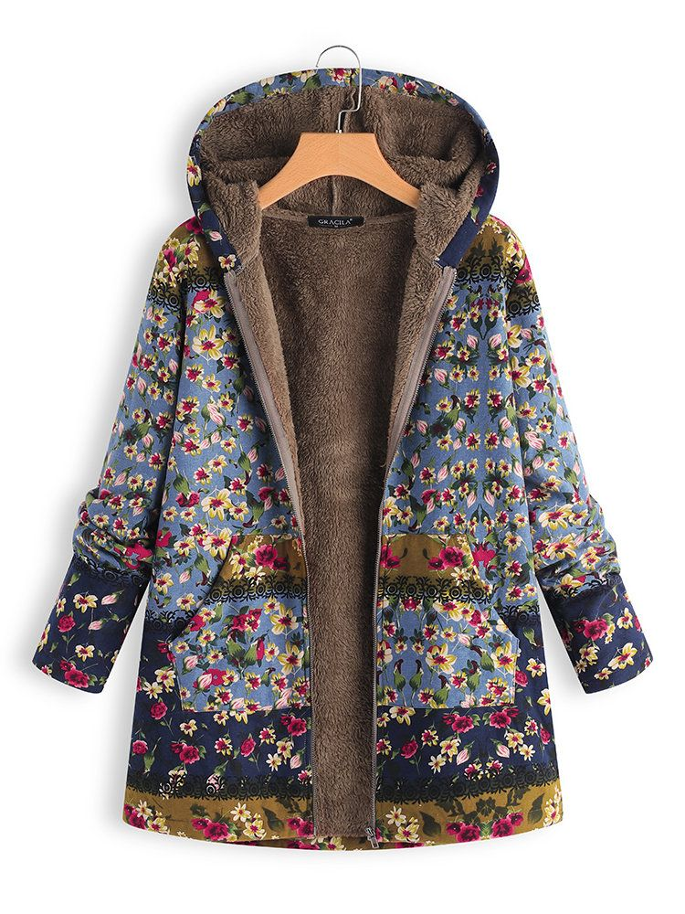081717b0 Patchwork Random Floral Print Hooded Long Sleeve Vintage Coats ...