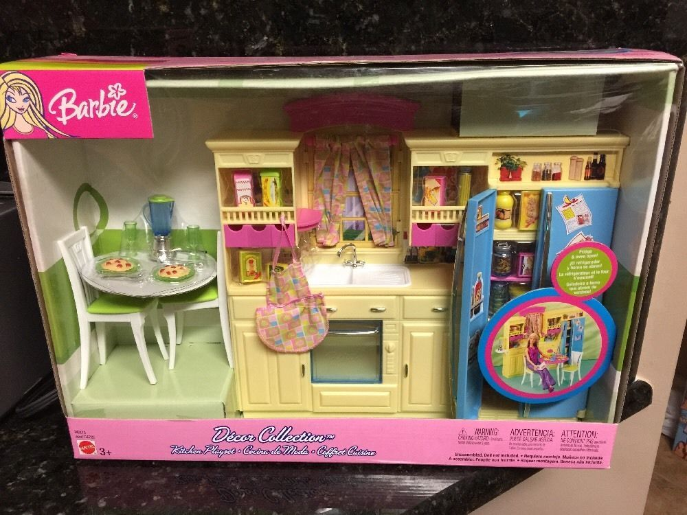 barbie kitchen playset round table seats 8 decor collection new 2003