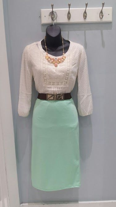 Cream textured polka dot top $42.99, basic stretch pencil skirt $19.99, mid-width belt $14.99. Necklace by Bijou Michelle $21.99.