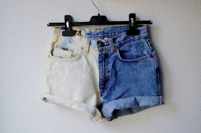 How To Make Half Bleached Denim Shorts You Could Even Use This To Bleach A Pattern Into Your Shorts Diy Denim Shorts Denim Jeans Diy Bleached Denim