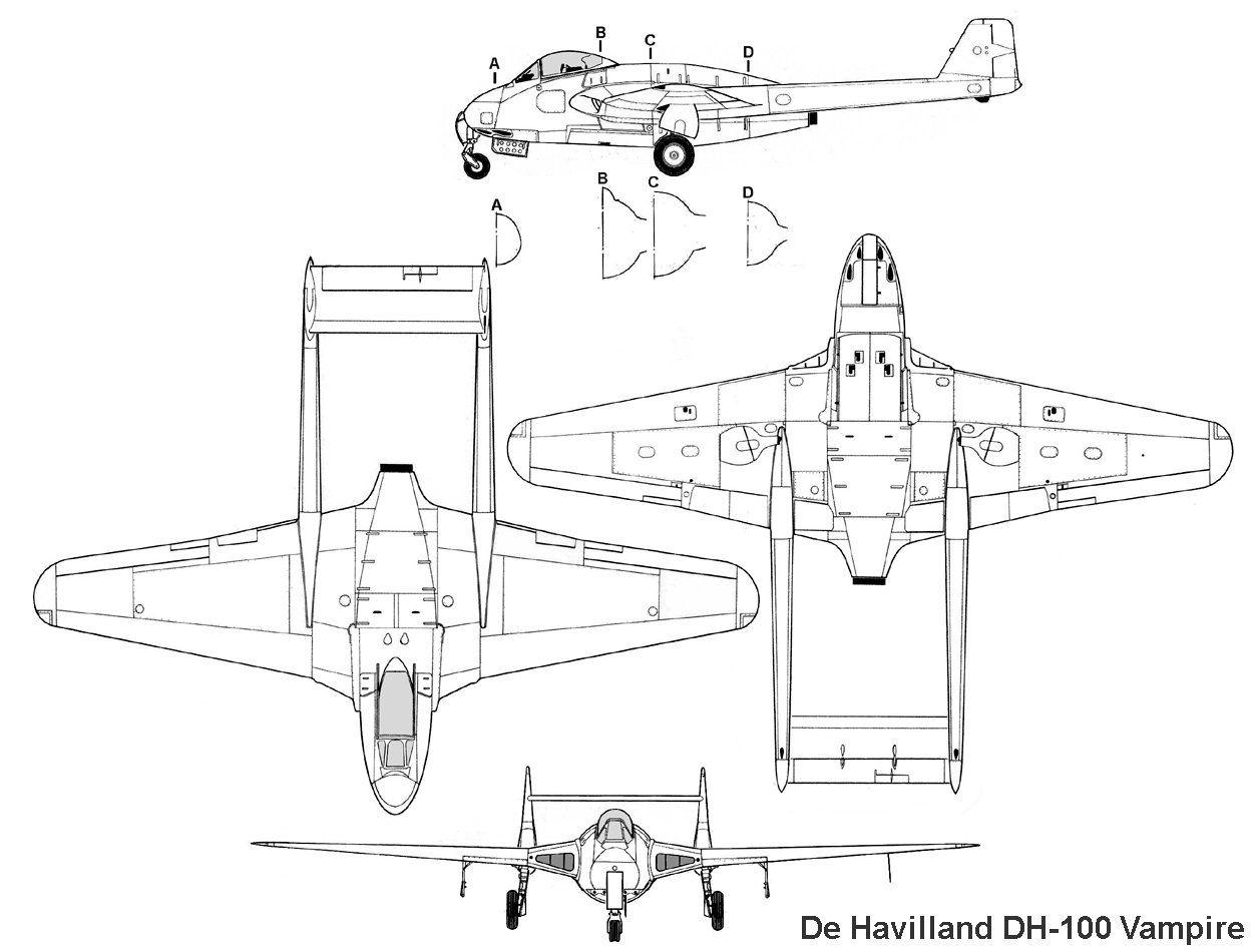 Dh100vampireg 1252950 aircraft drawings pinterest dh100vampireg 1252950 malvernweather Images