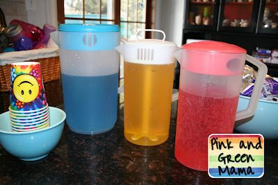 Kid's party drinks. Add food coloring to Sprite (or water) to make primary colors. Then let kids serve themselves by experimenting with mixing the colors!