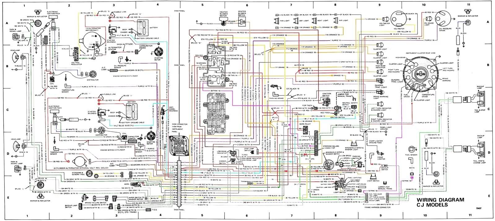 Jeep Wiring Harness Diagram List Of Schematic Circuit 66 6 Cylinder Gm Image Result For Cj7 Wire Rh Pinterest Com Cherokee Wrangler