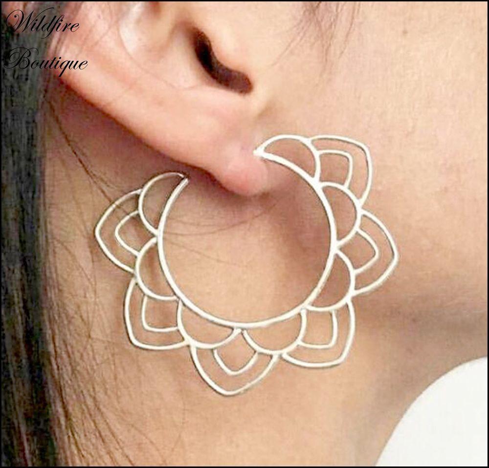 Nose piercing hoop vs stud  Stunning Open Lotus Flower Faux Hoop Stud Statement Earrings in