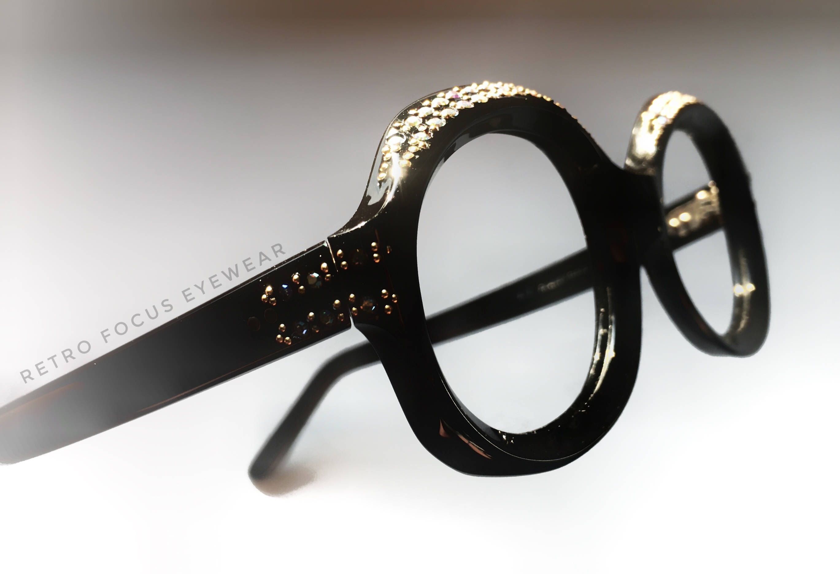 bbf6131c3c French 1960 s Rhinestone Brow Vintage Black Oval Thick Eyeglass Frames  Prescription Glasses Eyewear France Eccentric Unique
