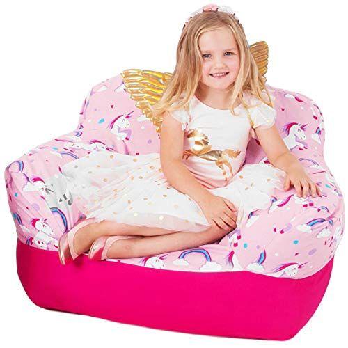 Yayme! Pink Unicorn Kids Stuffed Animal Storage Bean Bag Chair Cover