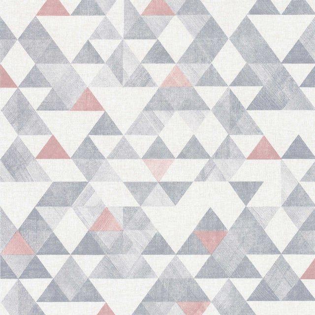 Papier peint vinyle Triangle Tribal rose et gris