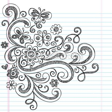 Flower and Butterfly Sketchy Doodles Design Elements Drawing