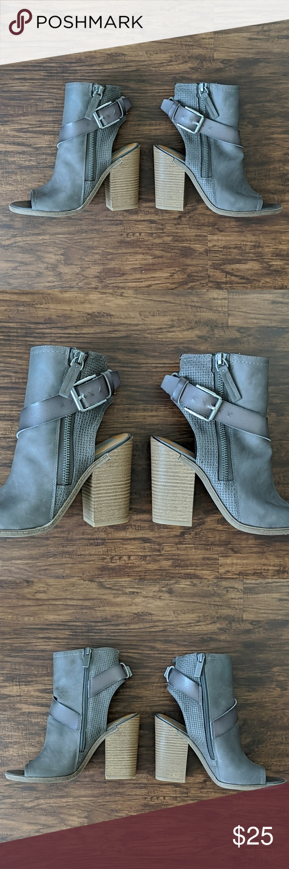 Dolce Vita Peep Toe Buckle Ankle Boots New Without Box Dolce Vita Peep Toe Buckle Ankle Boots  Fun ankle boots to wear with skinny jeans, flared jeans, and dresses! Great buckle detail with gunmetal silver hardware.  Heel height measures 4 inches. Dolce Vita Shoes Ankle Boots & Booties #skinnyjeansandankleboots