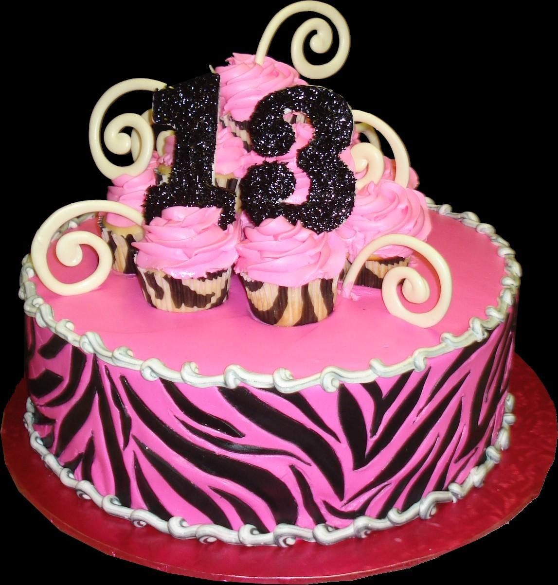 Zebra Pink 13th Birthday Cake Pink buttercream iced round