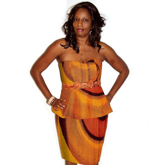 Brown And Orange African Ankara Print Strapless Peplum Skirt Set By ZabbaDesigns #AfricanWeddings #Africanprints #Ethnicprints #Africanwomen #africanTradition #AfricanArt #AfricanStyle #AfricanBeads #Gele #Kente #Ankara #Nigerianfashion #Ghanaianfashion #Kenyanfashion #Burundifashion #senegalesefashion #Swahilifashion DKK