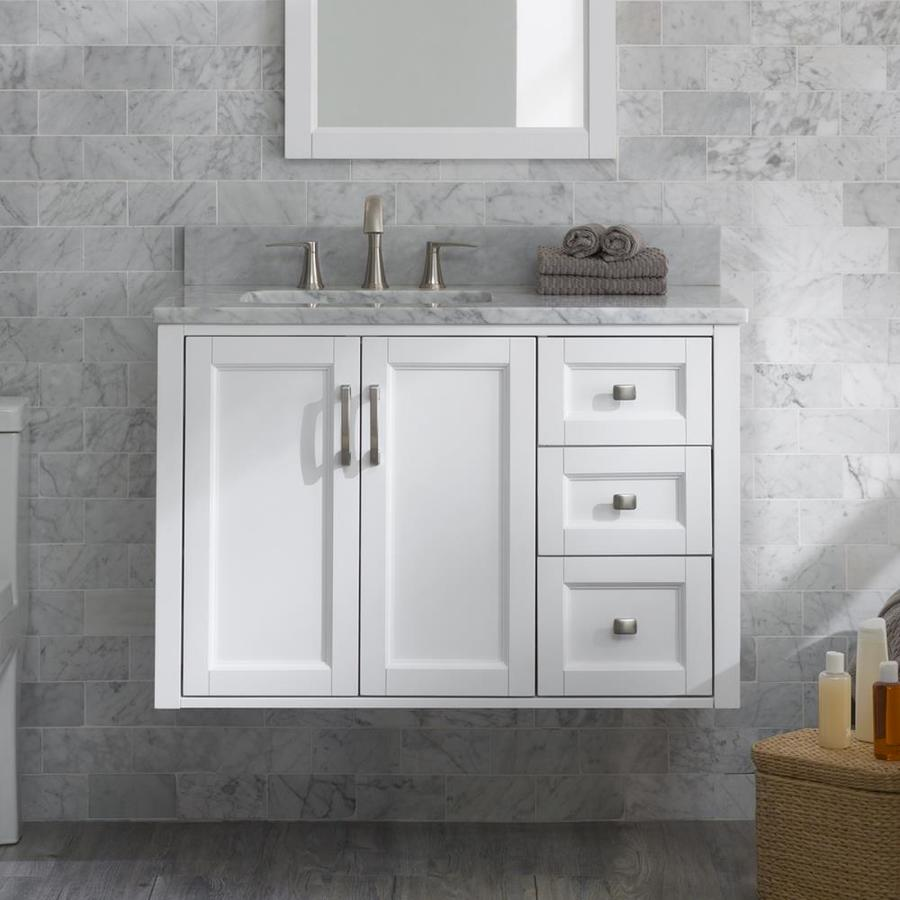 Allen Roth Floating 36 In White Single Sink Bathroom Vanity With Natural Carrara Marble Top Lowes Com Floating Bathroom Vanities Single Sink Bathroom Vanity Bathroom Vanity