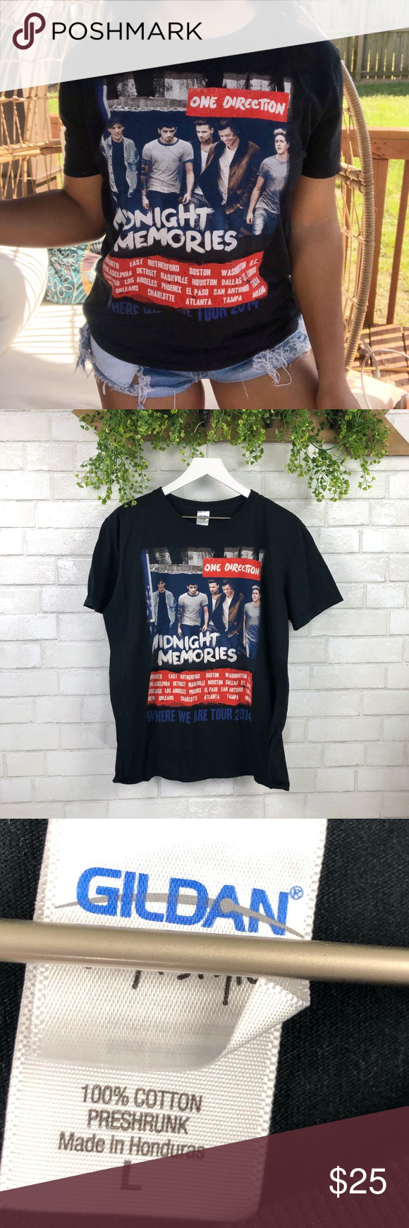 One Direction Midnight Memories Concert Band Tee One Direction 2014 Midnight Memories Concert Band Tee SZ L Pit to pit measurements are approximately 22 inches  Length measurements are approximately 27 inches  Pet free and smoke free home  Staple for any closet  *Bin P All reasonable offers considered Tops Tees - Short Sleeve #onedirection2014