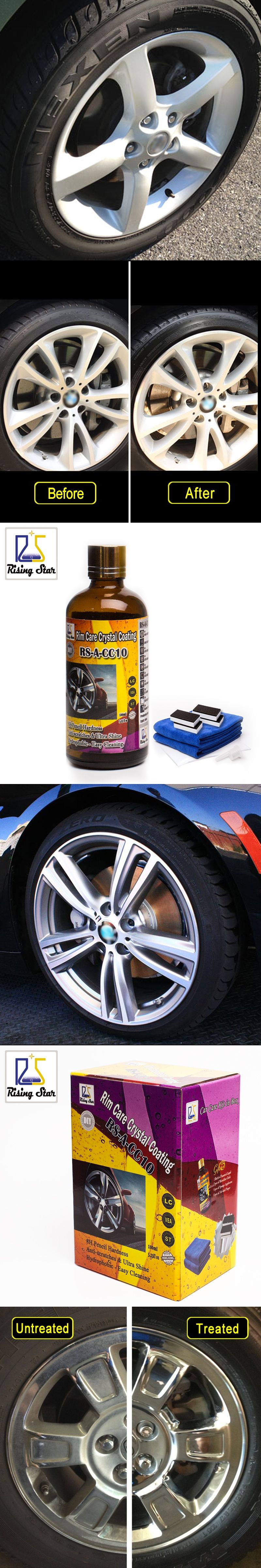 Rising Star Liquid Glass Nano Ceramic Car Rim Care Coating Hydrophobic  Crystal Wheel Coating Kits For DIY Users