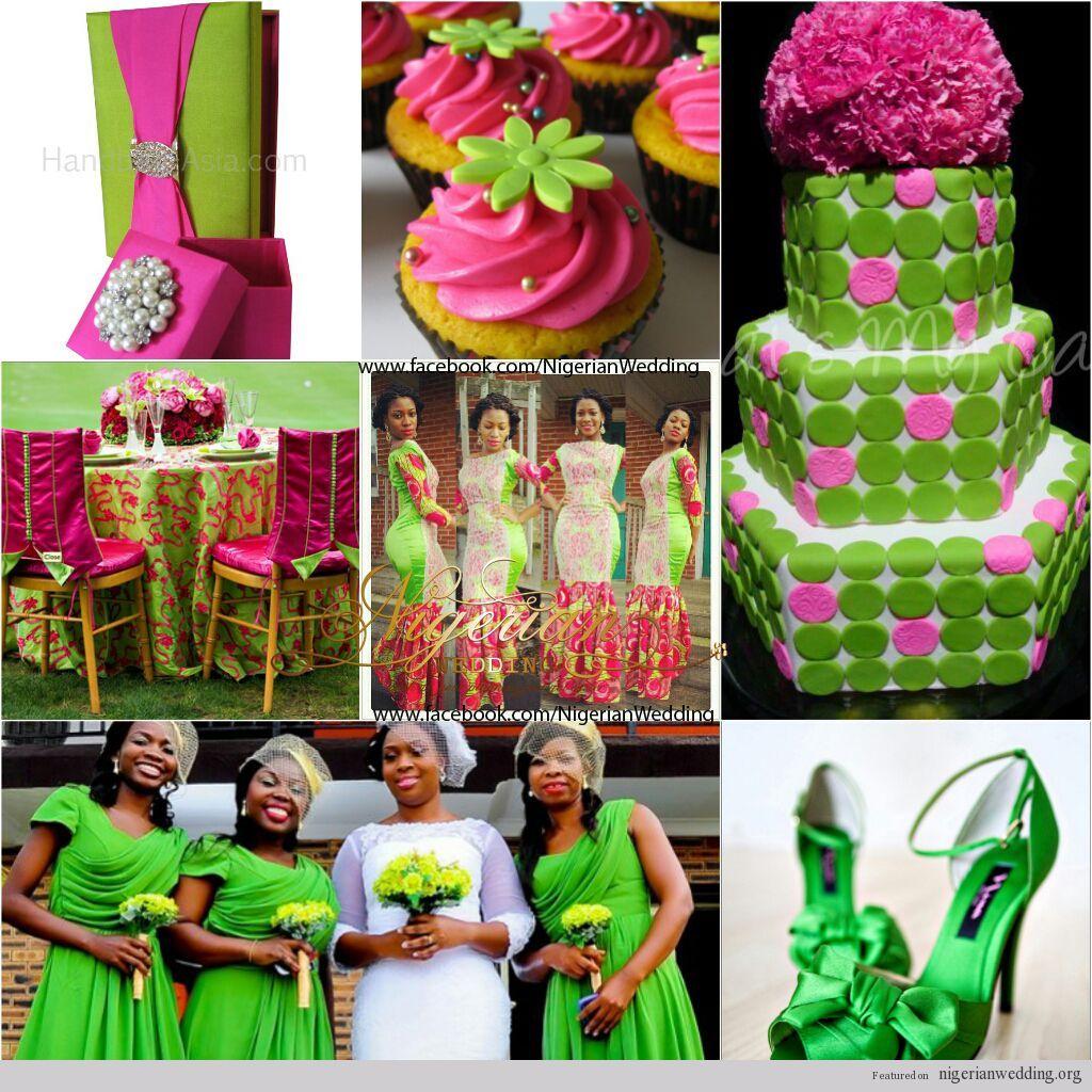 Nigerian Wedding Chartreuse Green And Fuchsia Pink Wedding