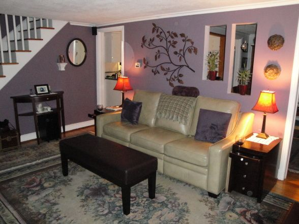 Purple Living Room With Light Grey Border Walls And White
