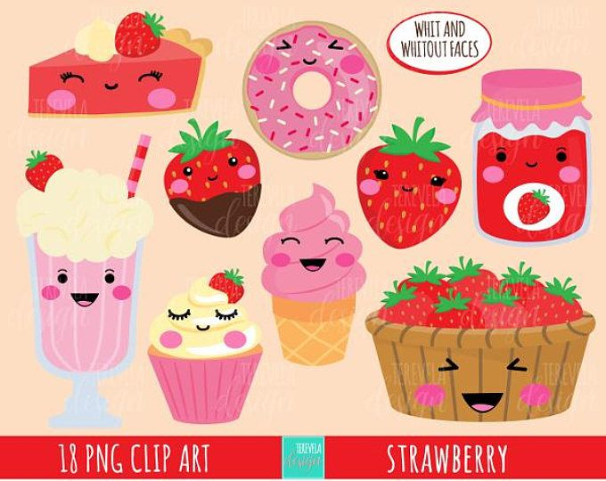 Strawberry-licious RED Cute Digital Clipart Commercial Use ...
