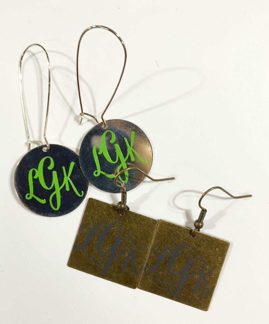 Adhesive Vinyl Monogrammed Earrings Monogram Earrings Vinyl Monogram Monogram