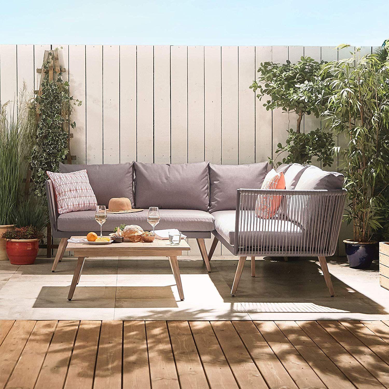Vonhaus Rope Style Rattan Garden Furniture L Shaped Corner Sofa