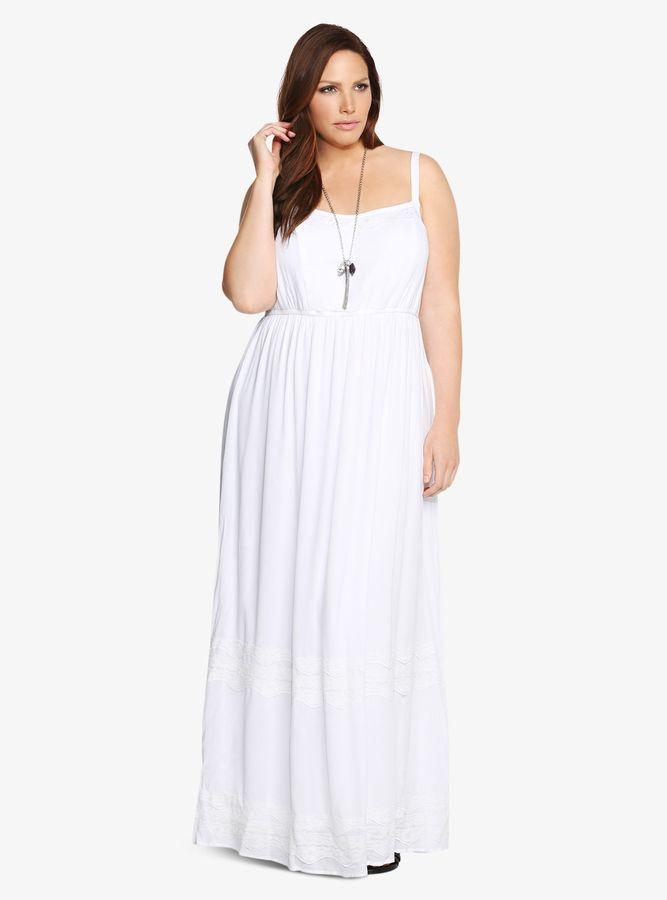 plus size gauze lace inset tank maxi dress | plus size fashion