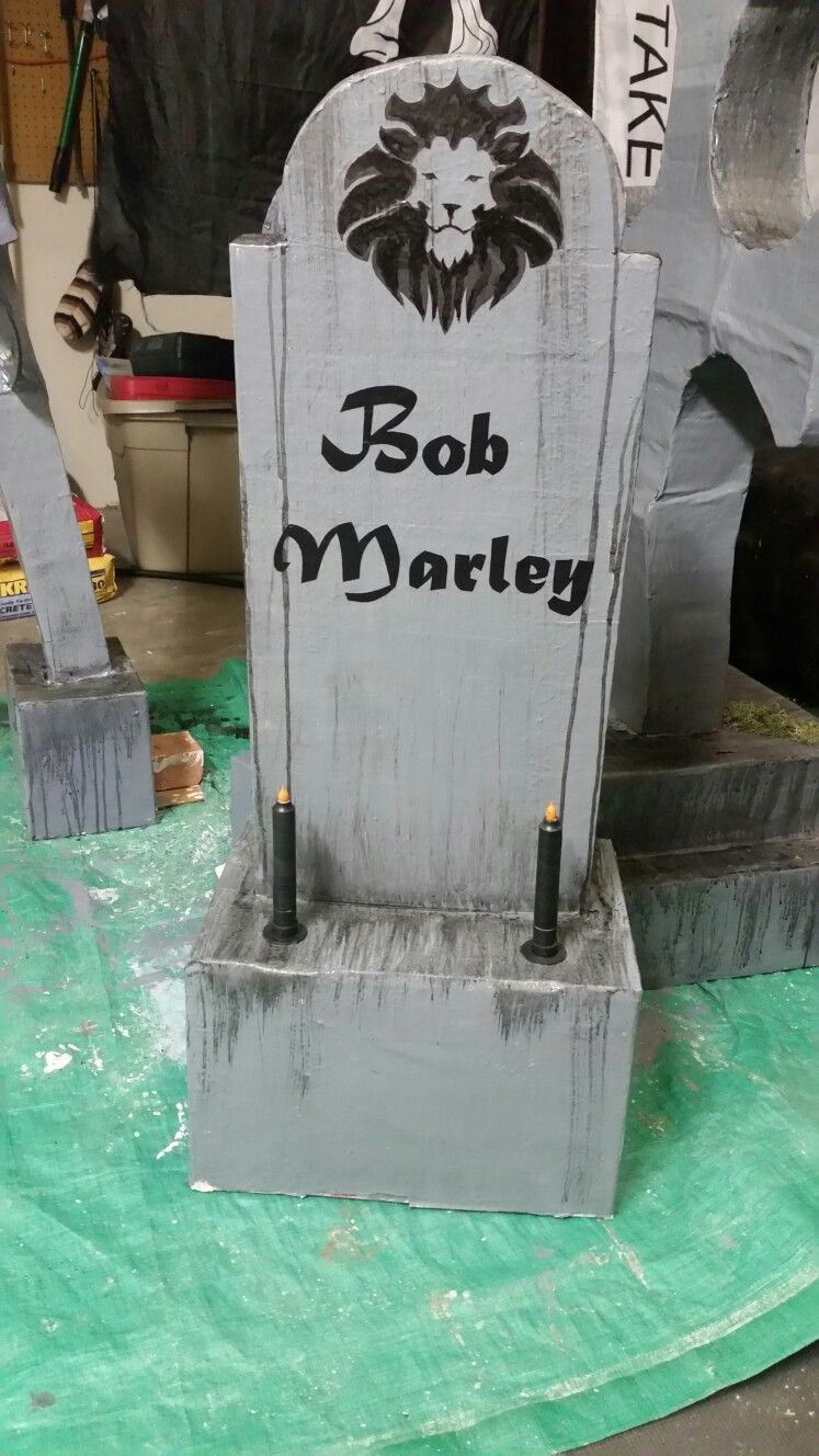 Home made tombstones. Cardboard frame, paper mache, left over ...