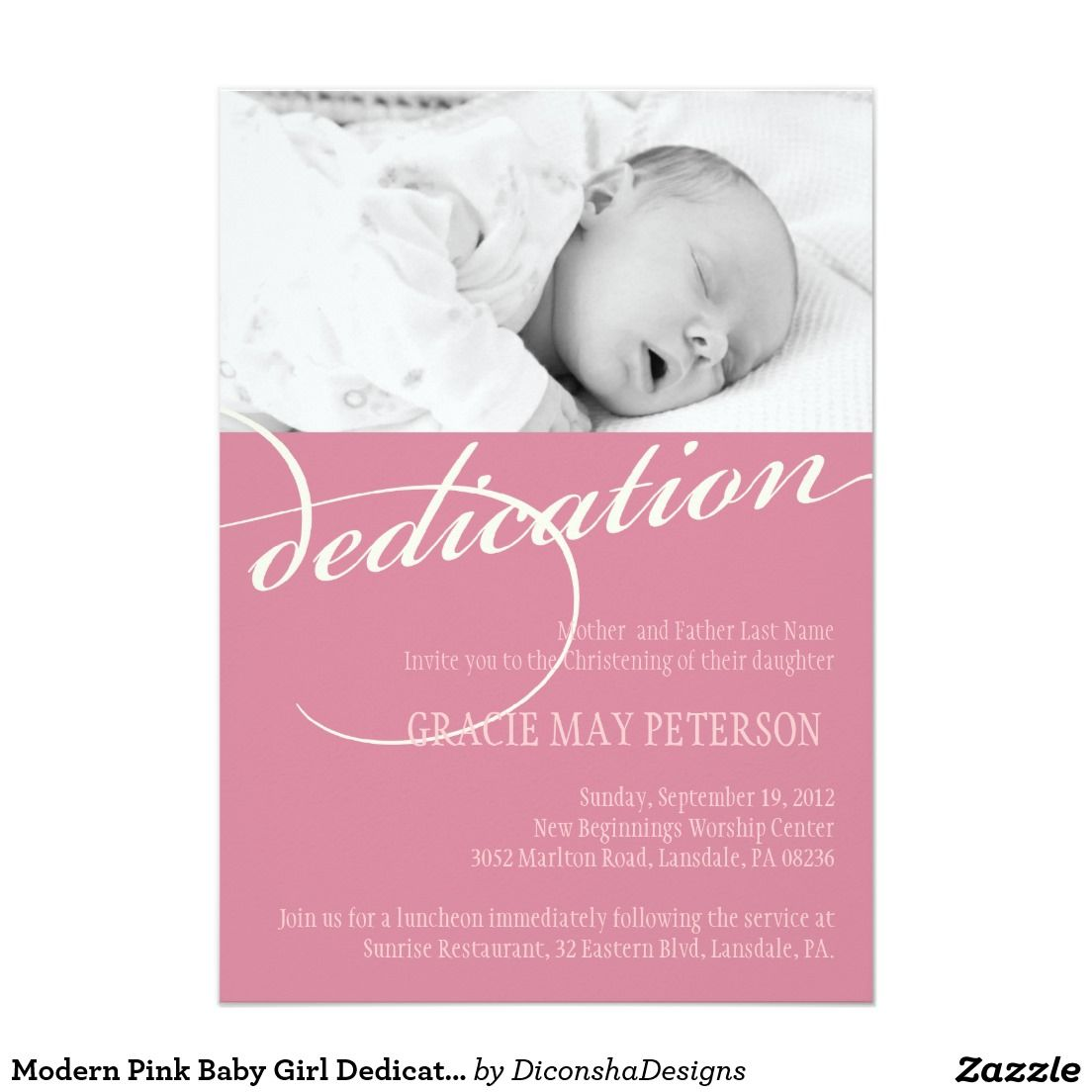 Modern Pink Baby Girl Dedication Invitation Sophia S Dedication