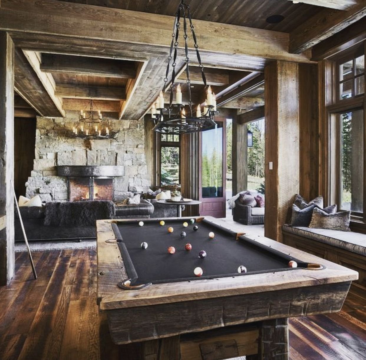 We may earn commission on some of the items you choose to buy. Rustic Pool Table   Pool table room, Rustic family room ...