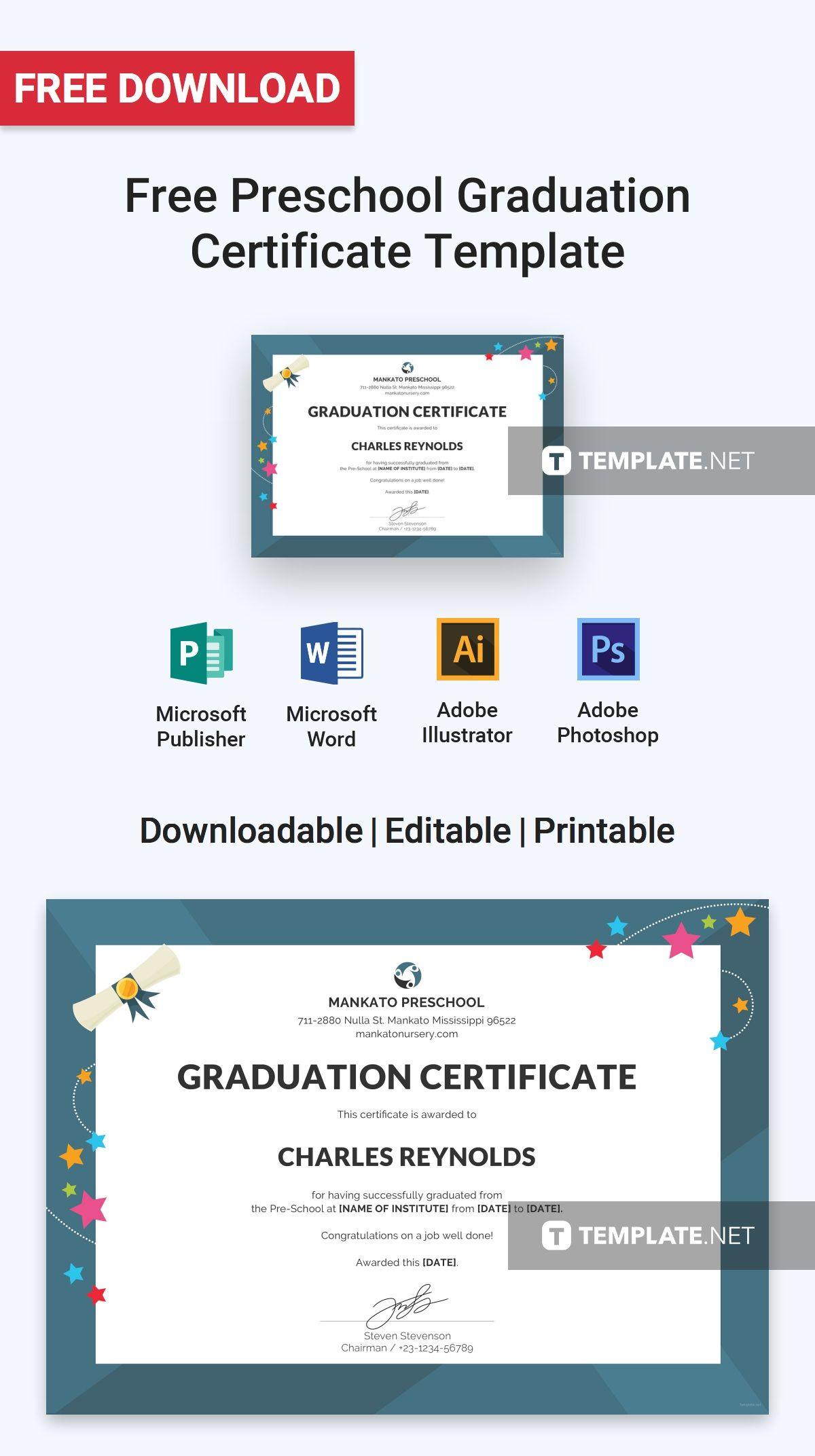 Free Preschool Graduation Certificate