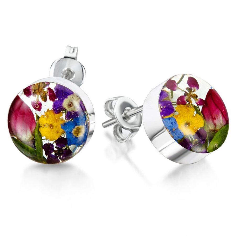 Obrázok pre Strieborné náušnice Kvety Mix kvetov - Krúžky napichovacie d0427d0a1ab