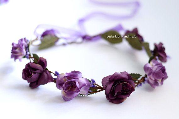 Purple Rose Crown Purple Wedding Rose Flower Crown Purple Floral Hair  Crown Purple Flower Girls Flower Purple Boho Hair  Wreath Purple Rose