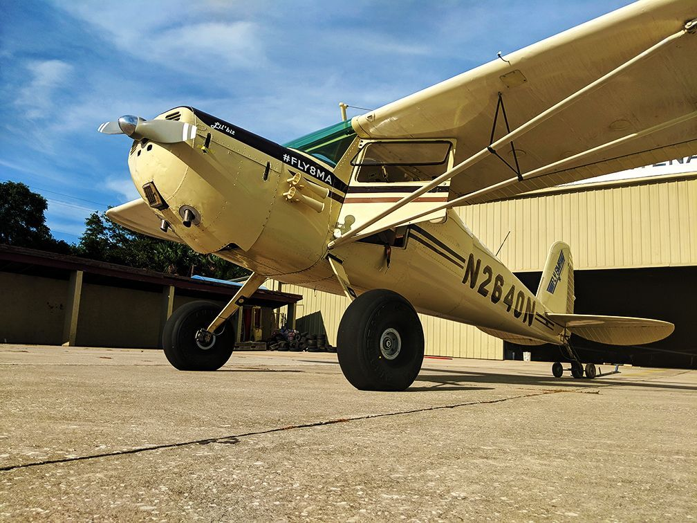 Big tires on the FLY8MA Lil' bit Cessna 140 Taildragger