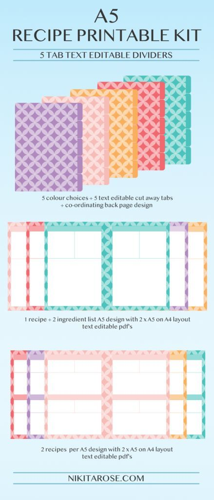 A5 Recipe Printable Kit Recipe Pages + Dividers Circles A5