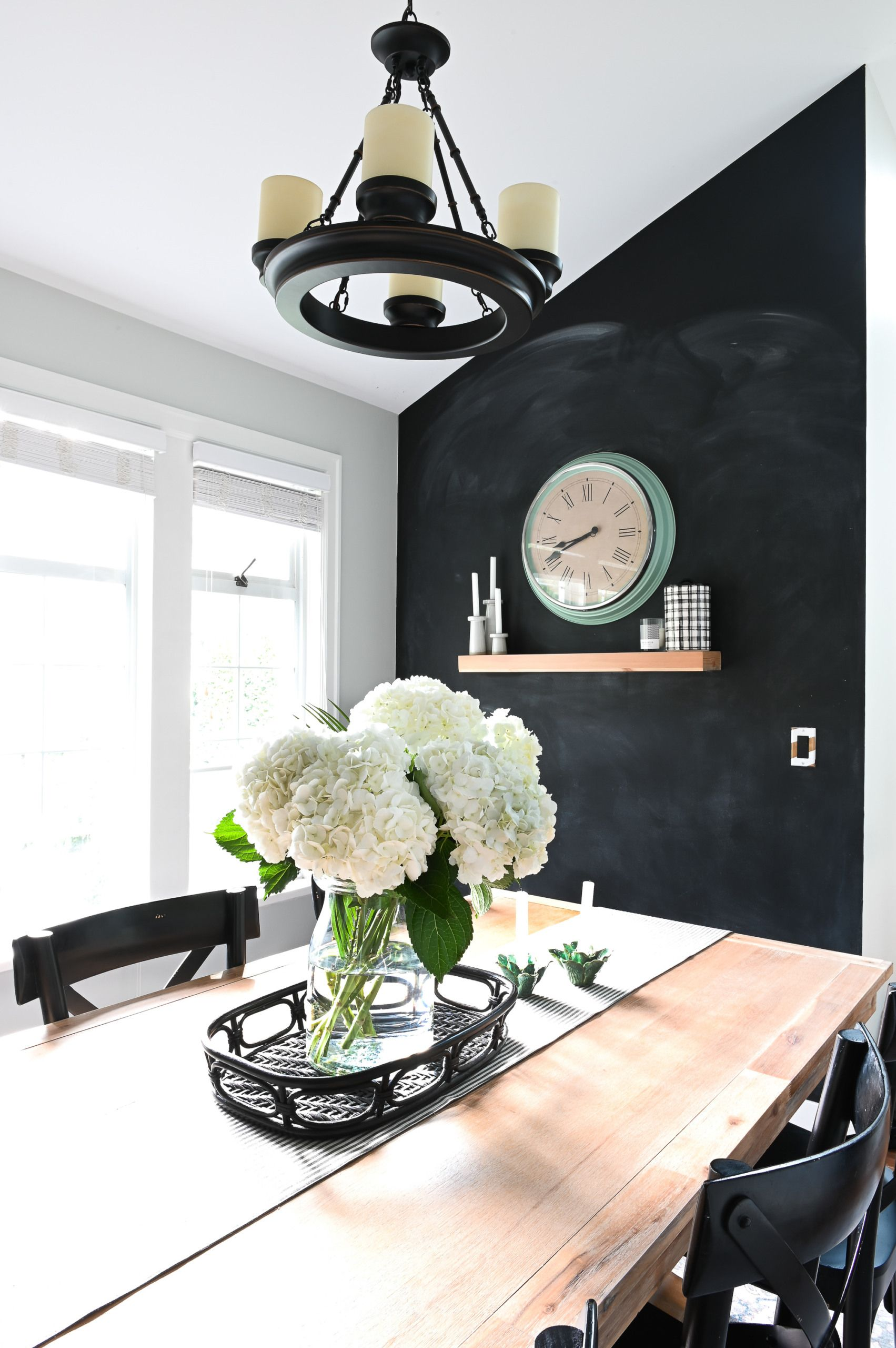 Vancouver Home Tour Family Friendly House The Diy Playbook Black Accent Walls Dining Room Accent Wall Diy Dining Room