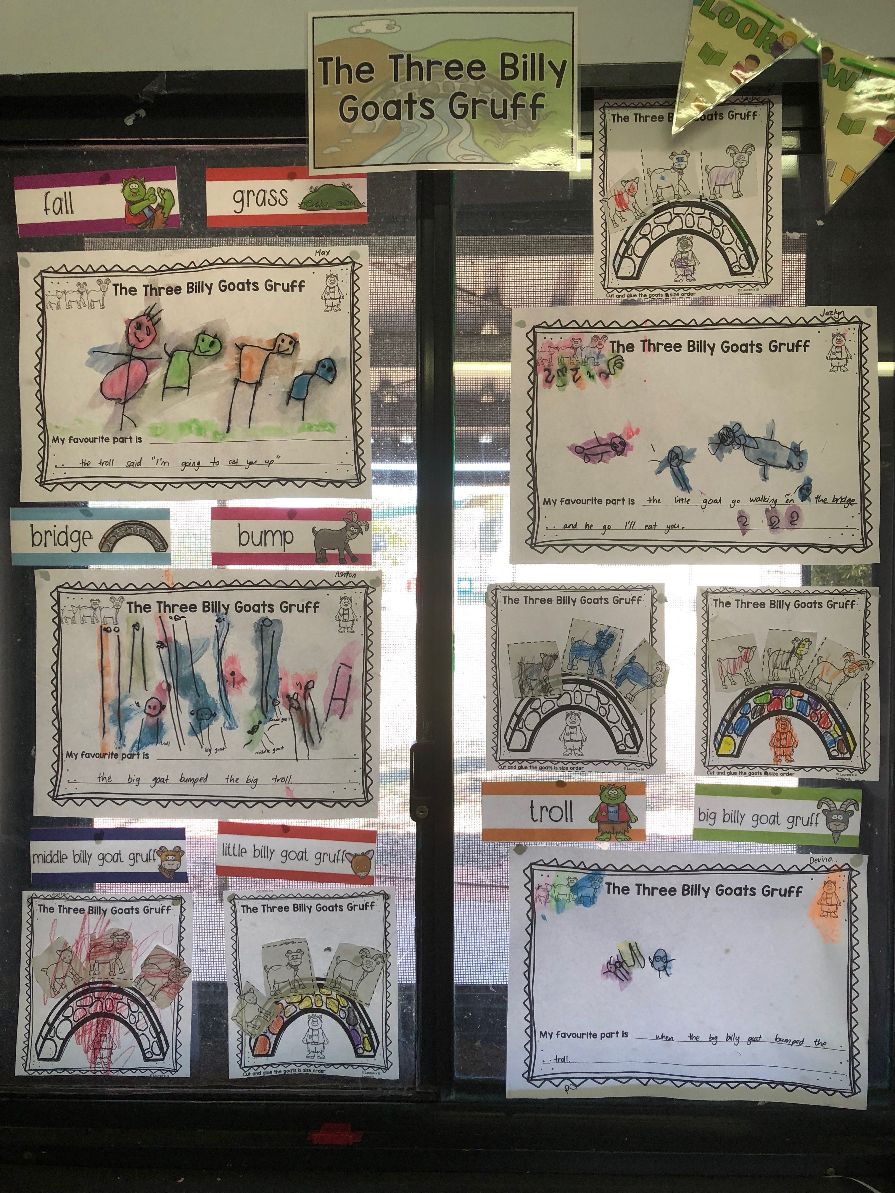 Three Billy Goats Gruff Word Wall Masks Sequencing And
