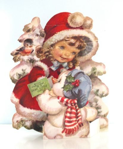 Vintage Marjorie Cooper Rust Craft Christmas Card Girl and Snowman