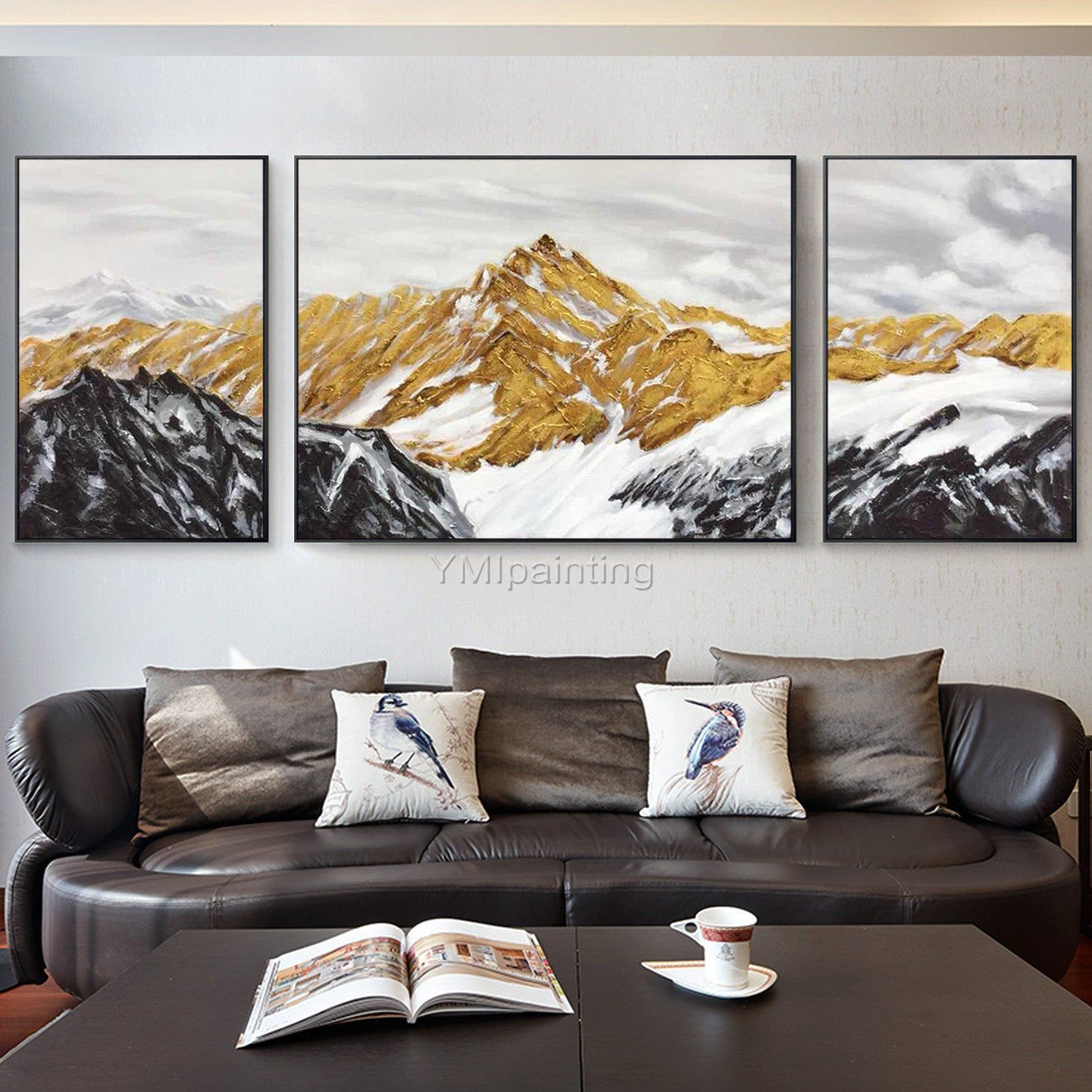 Set Of 2 Wall Art Mountain Peaks Modern Abstract Landscape Painting On Canvas Original Large Wall Art Gold Art Wall Picture Framed Wall Art In 2020 3 Piece Canvas Art Canvas