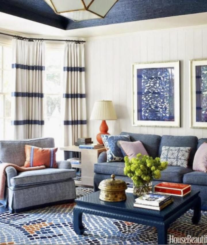 Striped Curtains Blue And White Linen Curtains Drapes Drapery Navy Curtains Custom Designer Curtain Pa Blue And White Living Room Blue Living Room Stylish Room
