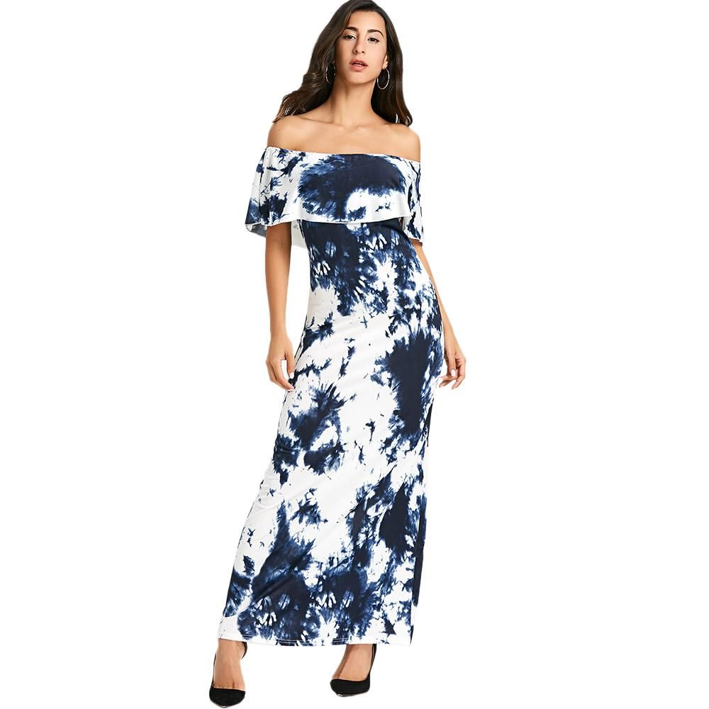 Hip and fun tie dye ruffled off the shoulder maxi dress