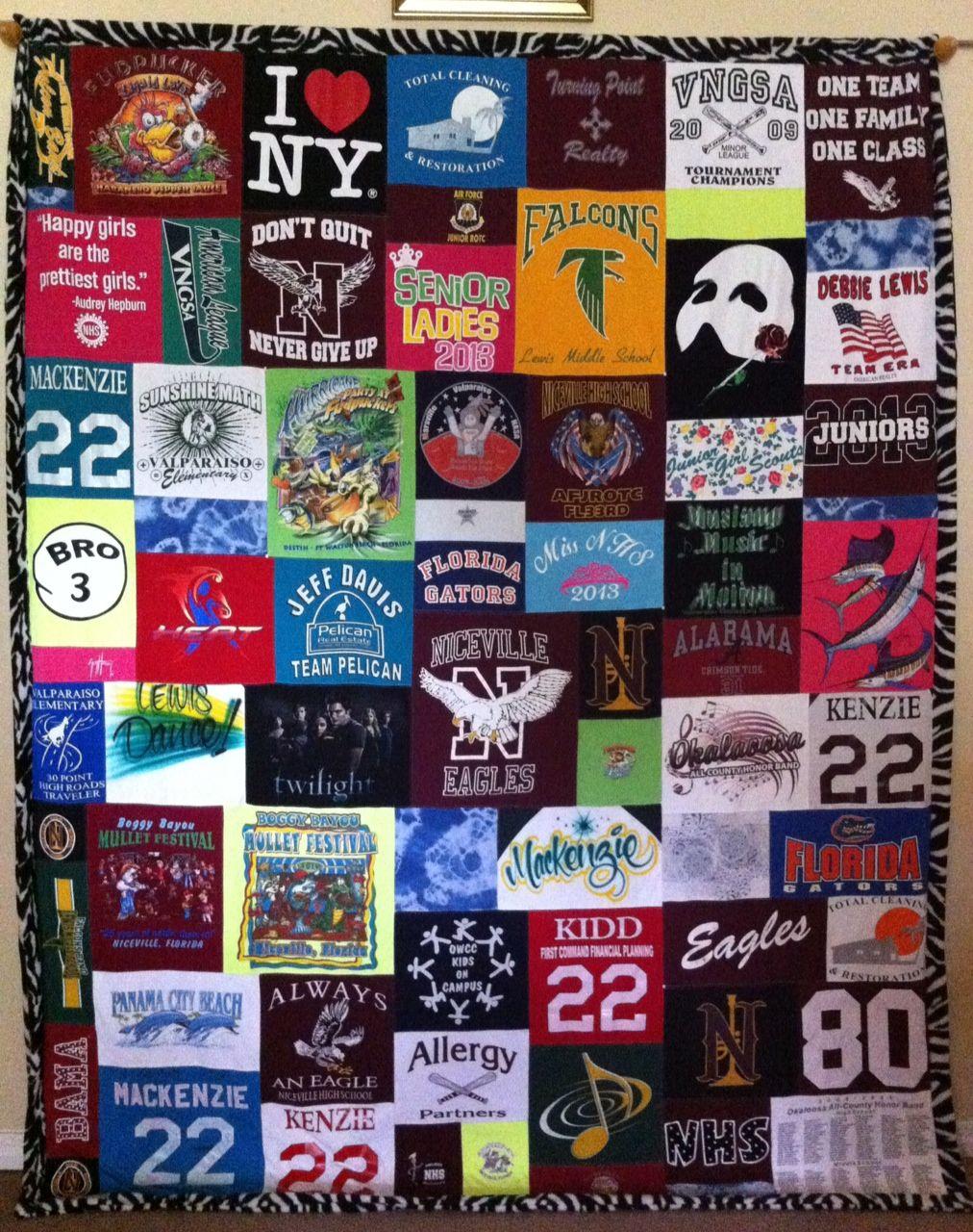 Zebra Border On A Huge Mosaic T Shirt Quilt Cozy Quilts Tshirt Quilt Shirt Quilt