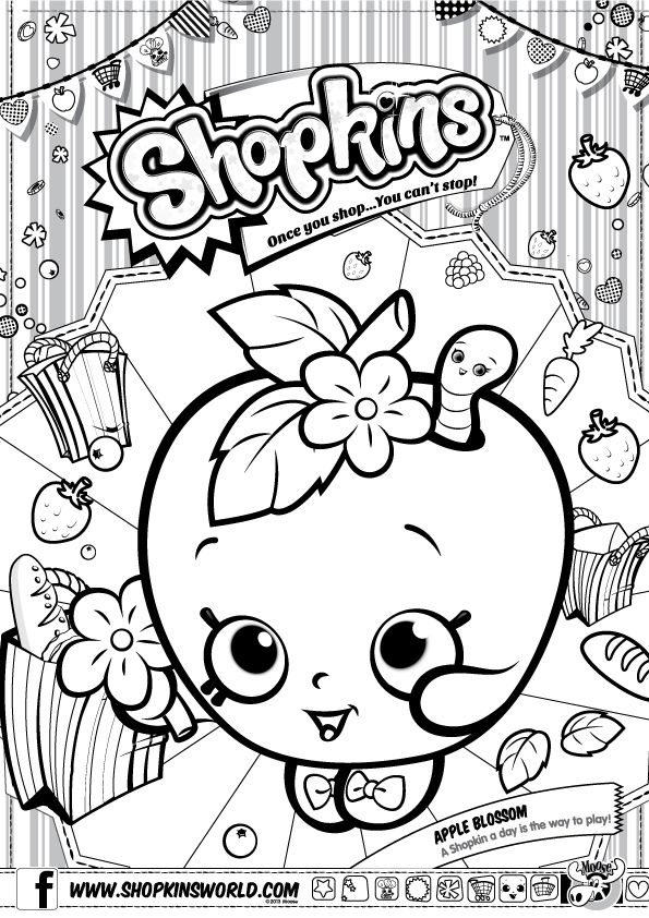 Shopkins Birthday Party Ideas Apple Coloring PagesShopkin
