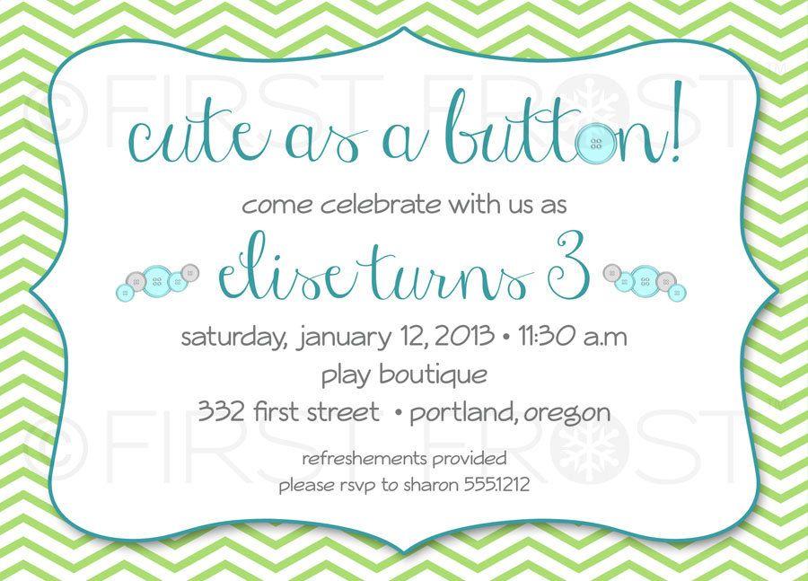 Cute as a Button Printable Invitation - Button Themed, Birthday ...