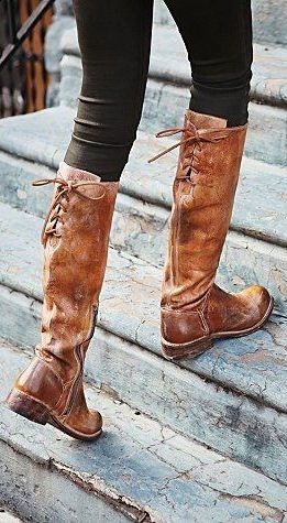 Brown Leather Tie Back Boots ♥ | Tall